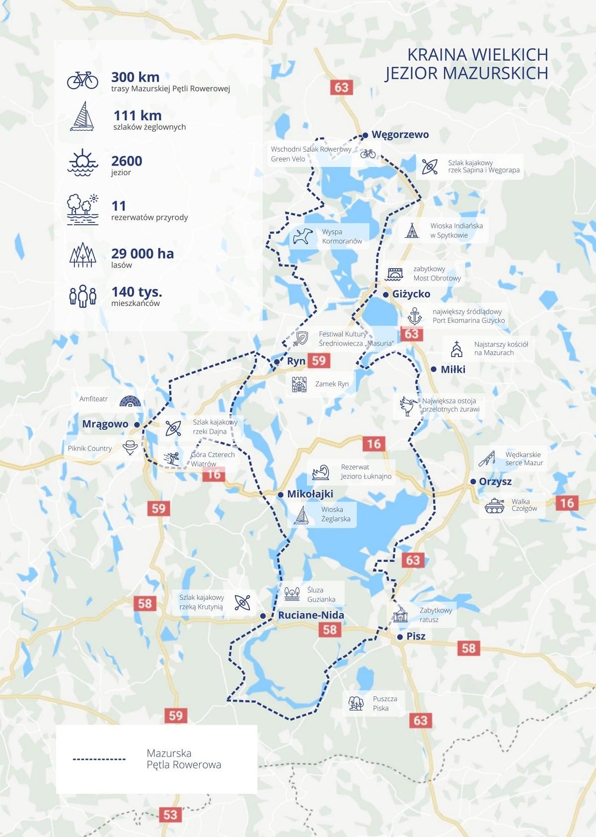 mazurska pętla rowerowa mapa